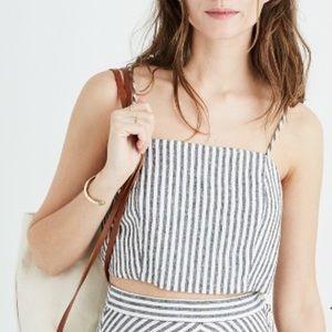"""Madewell tie shoulder """"Rhoda"""" striped crop top"""